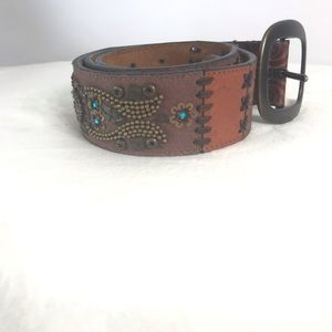 Fossil Brown Leather Belt Boho Beaded Patchwork